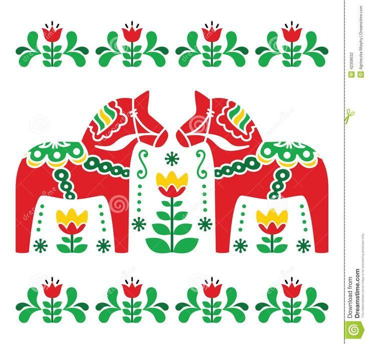 Schwedische Dala Horse Designs | Skandinavischer Hintergrund - Dala-rote Pferde mit grünem Blumenmuster - #Blumenmuster #Dala #Dalarote #Designs #grünem #Hintergrund #Horse #mit #Pferde #scandinavian #schwedische #Skandinavischer #horsepattern