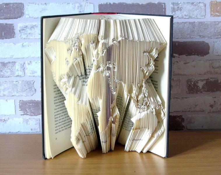 gefaltetes buch weltkarte buchkunst bookfolding geschenk buchliebhaber. Black Bedroom Furniture Sets. Home Design Ideas