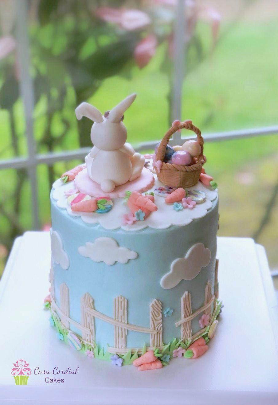 Peachy Easter Theme Cake Bunny Cake Easter Cakes Personalised Birthday Cards Beptaeletsinfo