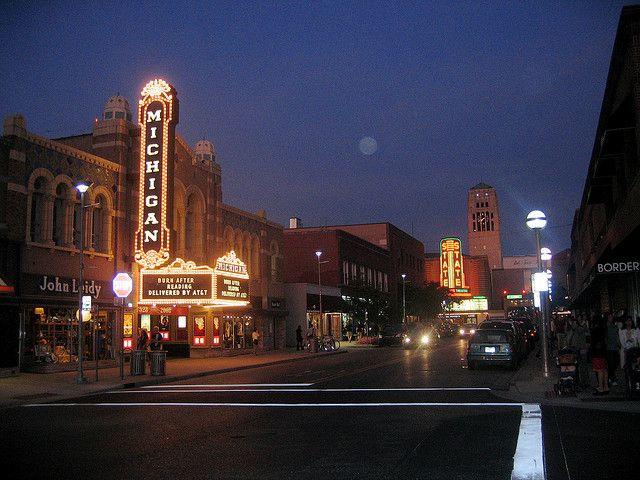 Ann Arbor By Night College Town Ann Arbor Michigan Ann Arbor