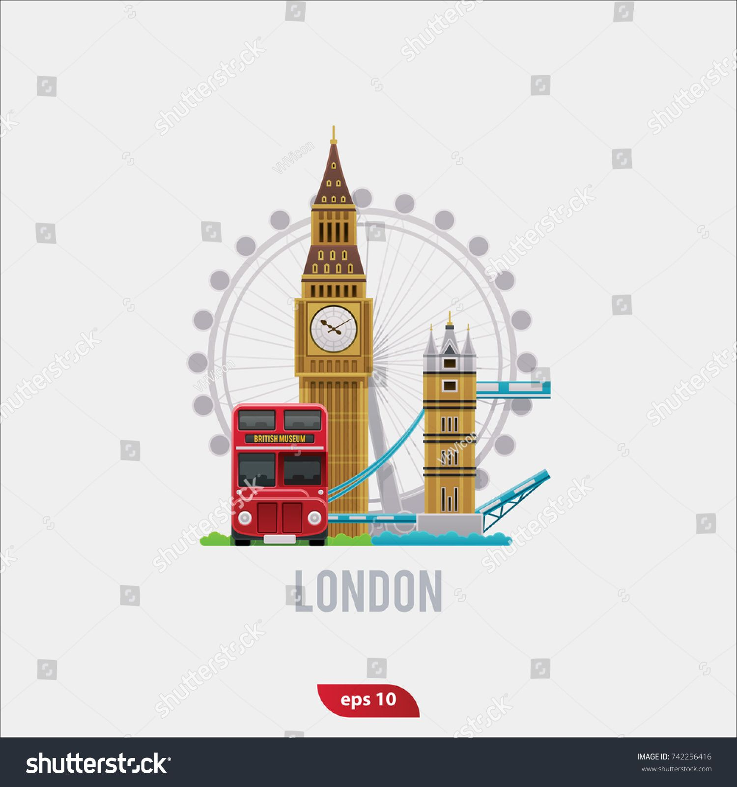Vector illustration set of London flat symbols of Big Ben of london bridge of double decker london bus and London Eye