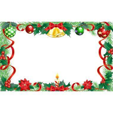 リボン 鈴が周囲を囲むクリスマス枠囲み飾りフレーム背景イラスト