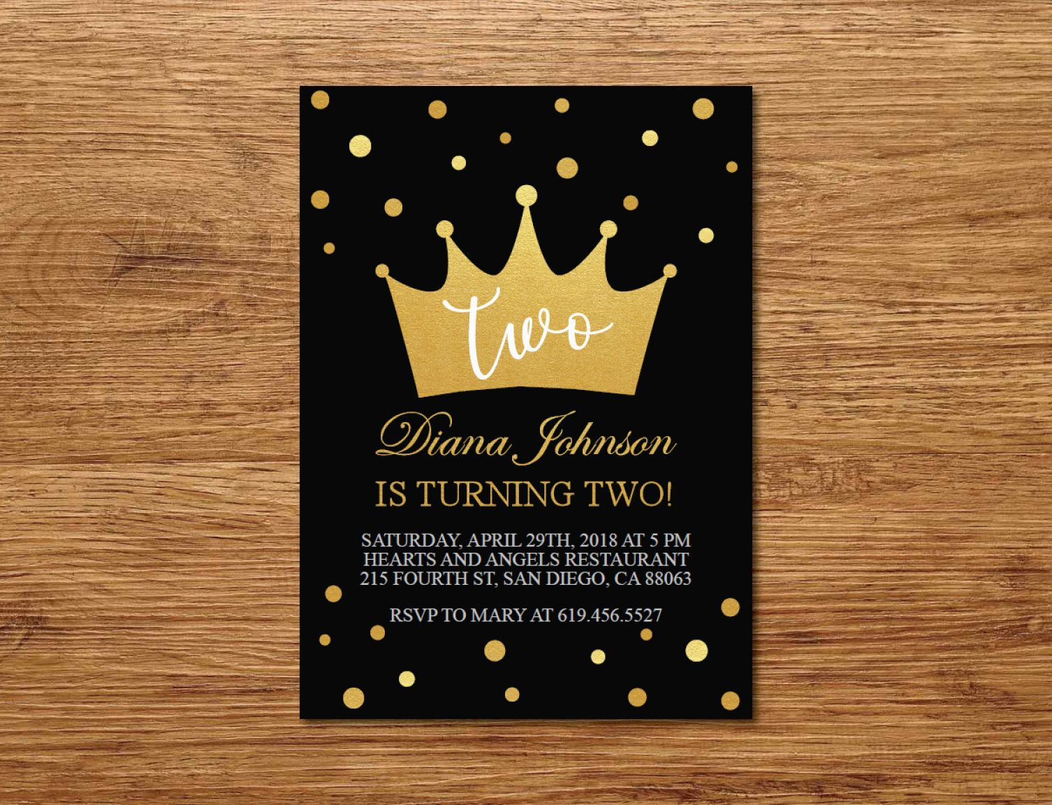 Birthday Invitation for Kids/Printable Gold & Black Birthday