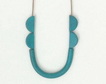 turquoise tube necklace, tribal inspired, minimal & fun, polymer clay jewelry