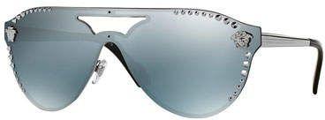 3f8b114d2d9 Versace Men s Mirrored Metal-Studded Shield Sunglasses