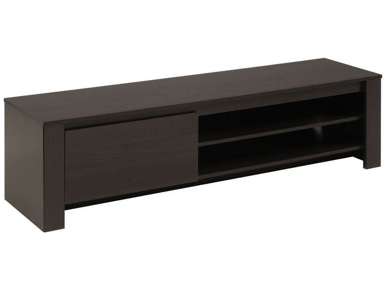 Banc TV 1 porte + 2 niches AMBER coloris wengé - Vente de Meuble ...