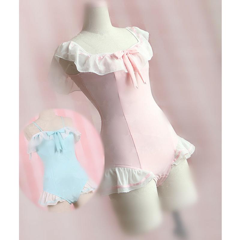 Blue Pink Kawaii Falbala One Piece Swimsuit Sp167067 Ropa Kawaii