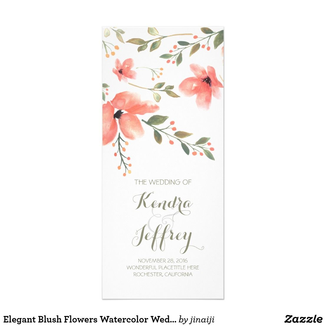 elegant blush flowers watercolor wedding programs floral watercolor