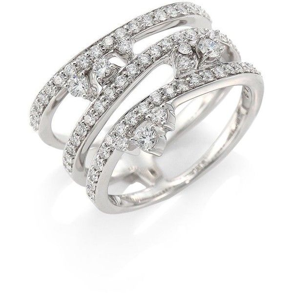 Hueb Reverie Diamond & 18K White Gold Ring (67.505 ARS) ❤ liked on Polyvore featuring jewelry, rings, white gold pave ring, white gold diamond rings, fine jewelry, 18k white gold ring and white gold diamond jewelry