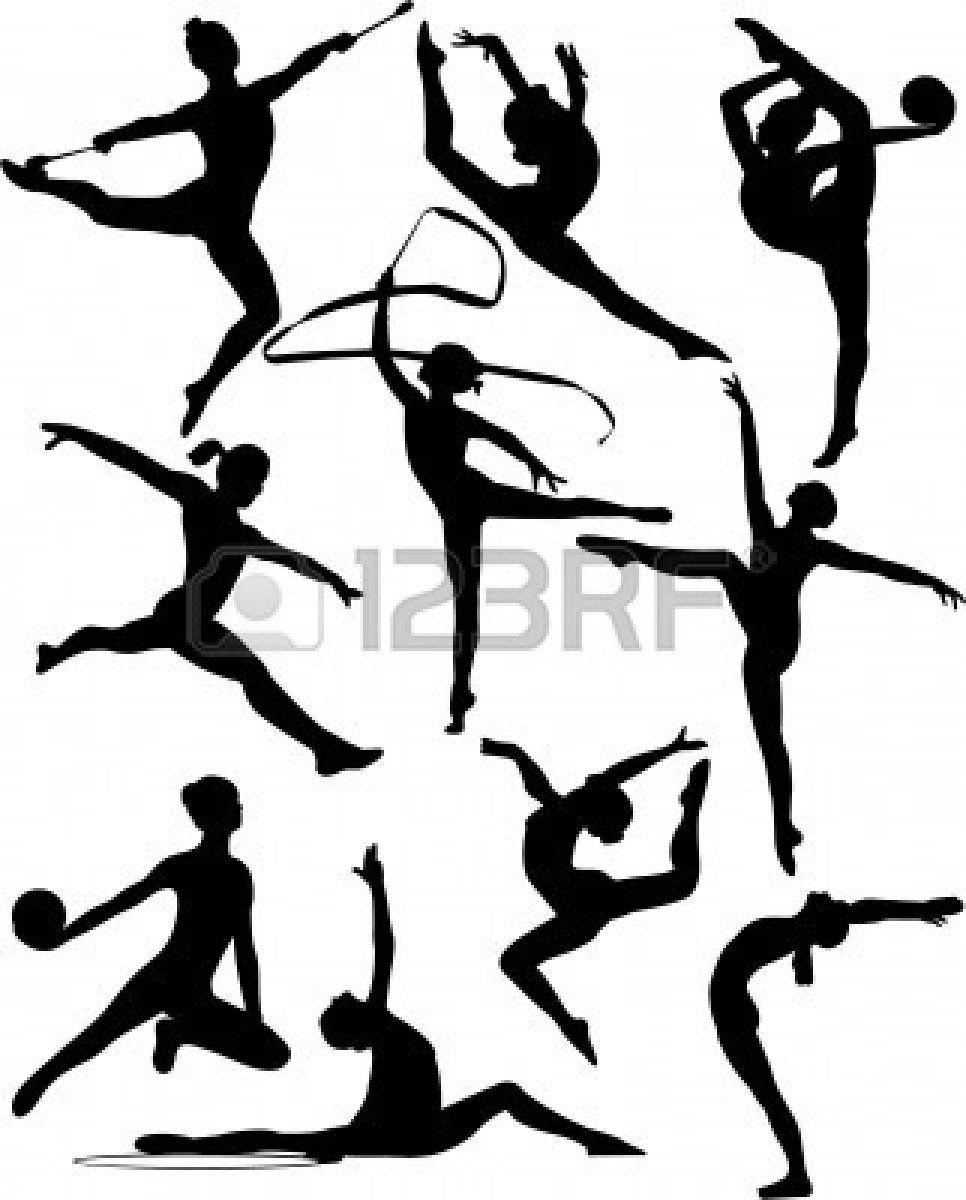 Rhythmic Gymnastic Silhouette Collection Vector Silhouette Gymnastics Silhouette Images