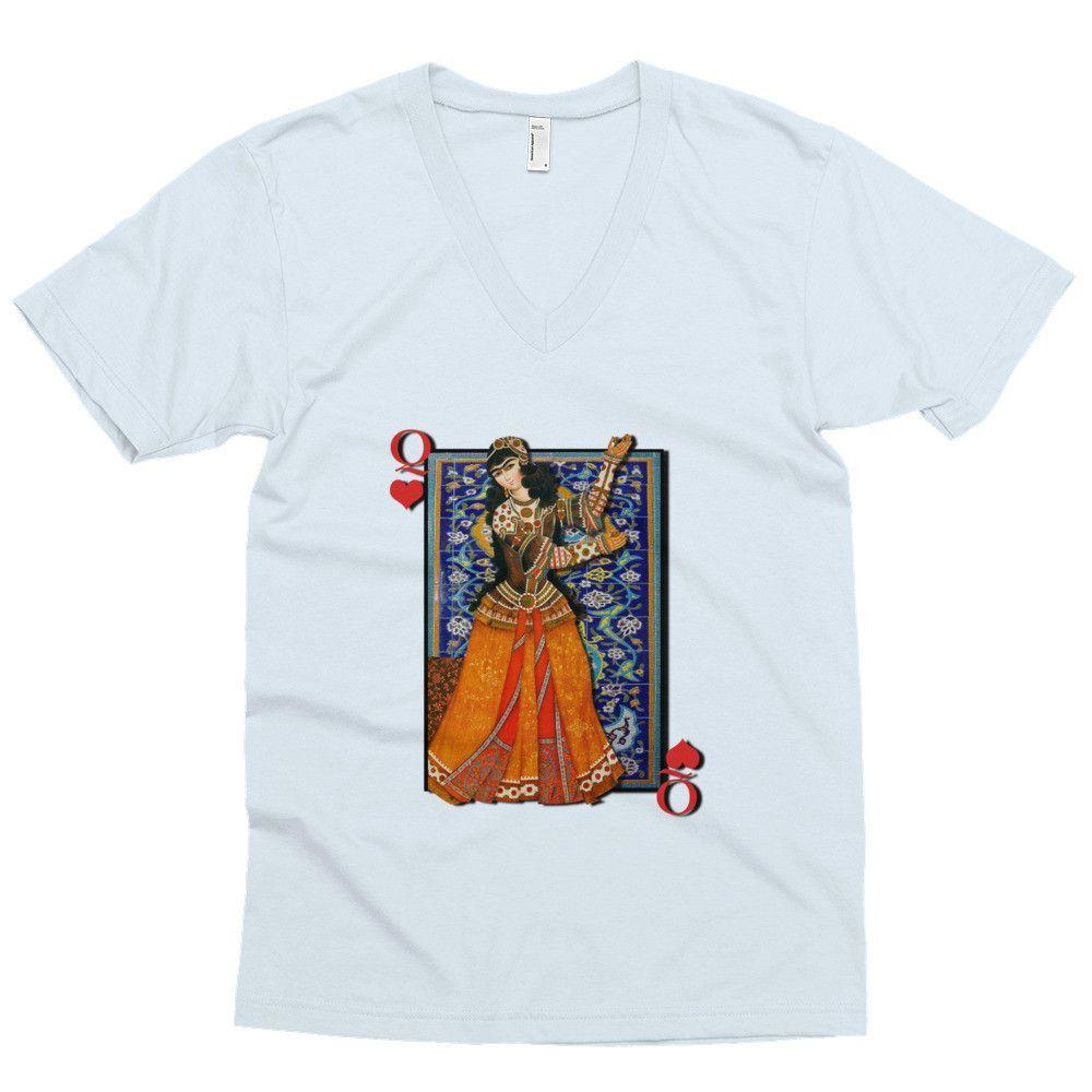 Men's short sleeve v-neck - Queen of Hearts