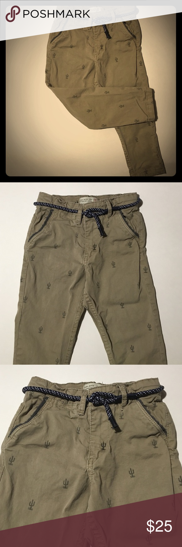 Zara boys trousers w/ belt Zara toddler boy trousers in size 3/4T. Has adjustable elastic band inside, and comes with the rope belt you see in pics. Worn twice. Zara Bottoms Casual