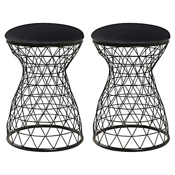 Silhouette your modern style with art deco geometry and luxe black looks in the Dixon Stool (Set of 2) from Amalfi.
