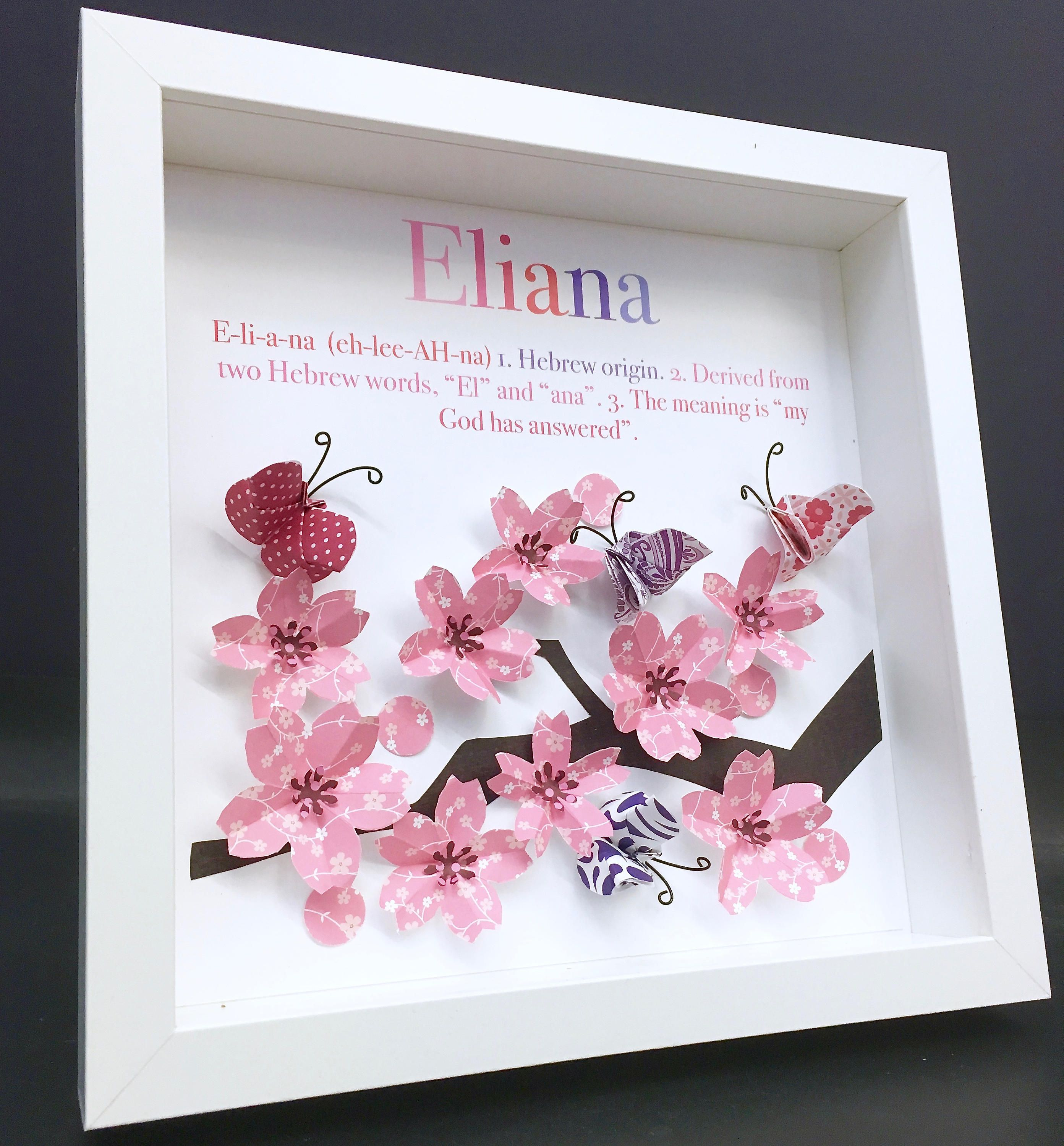 Awesome Personalized Name Origin And Meaning Paper Origami Shadowbox Frame With  Cherry Blossoms U0026 Butterflies Newborn Baby