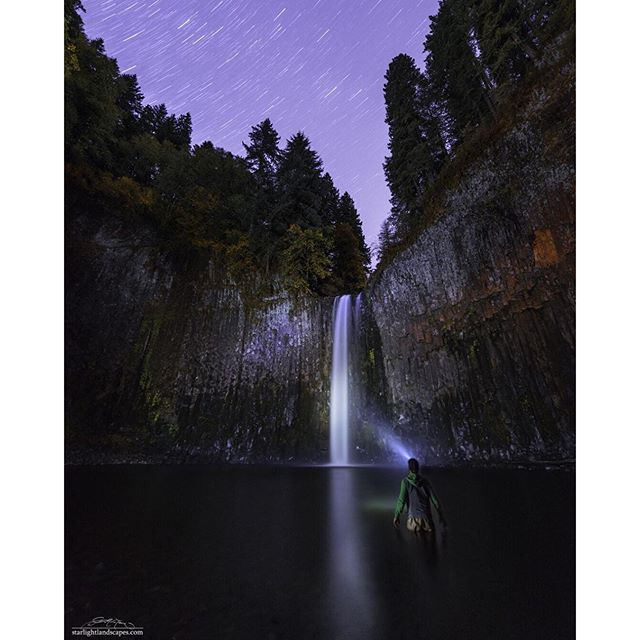 """""""You don't find yourself, you build yourself. ____________________ I was inspired by all of the shots by @robbyzabala so after shooting with him, I headed down to Abiqua Falls for some solo night shooting. Thanks @flow397 for keeping me warm during this exposure. ___________________ Check out @robbyzabala  ___________________ Nikon D810 14-24 f/2.8 ➖14mm ➖f/3.2, ISO 611, 600"""" (background) ➖f/2.8, ISO 2000, 69"""", (me) Adobe Photoshop CC"""