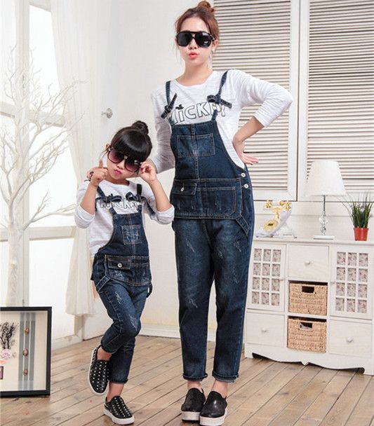 cab7074f484e 2015 rompers womens jumpsuit overalls girls jeans pants matching mother  daughter clothes family clothing mommy and me clothes