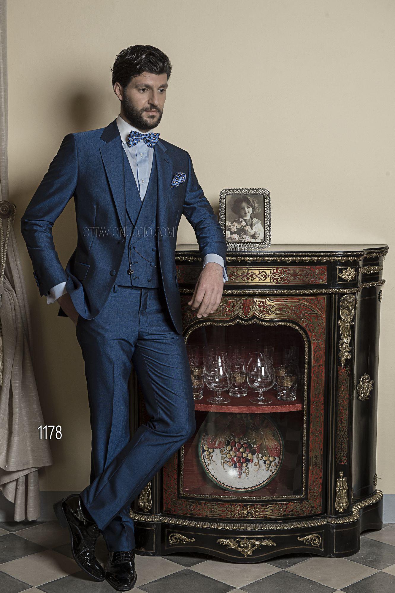 Abito sposo pezzi in lana poliestere mohair blu bouquet
