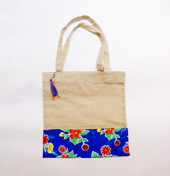 Jute bag with mexican oilcloth / tropical themed / beach bag ...