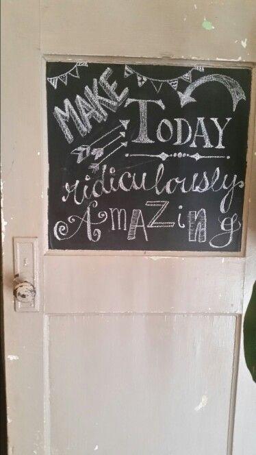 Chalkboard art on old door