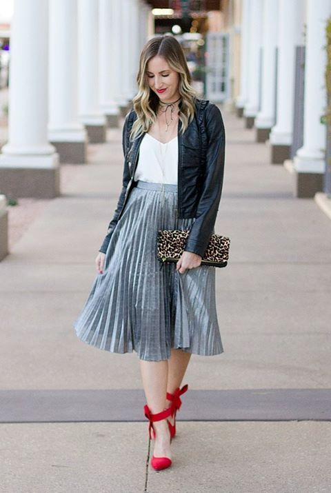 3bff3f00e8 Falda plisada con cintura alta - gris