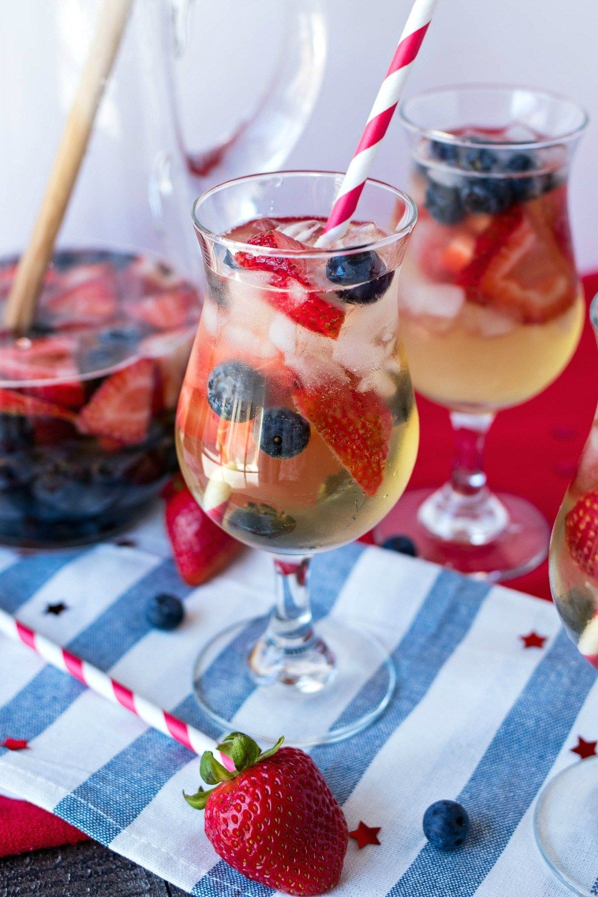 Red White Blue Sangria A Refreshing White Sangria Made With Dry White Wine Brandy And To White Sangria Recipe Patriotic Cocktails 4th Of July Cocktails
