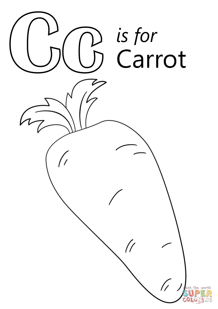Letter C Is For Carrot Coloring Page Free Printable Coloring Pages Letter C Coloring Pages Abc Coloring Pages Preschool Coloring Pages