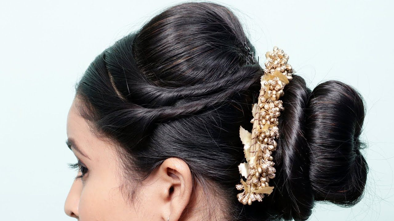 Easy juda bun hairstyle for wedding/Party | cute hairstyle with trick | ... | Bun hairstyles ...