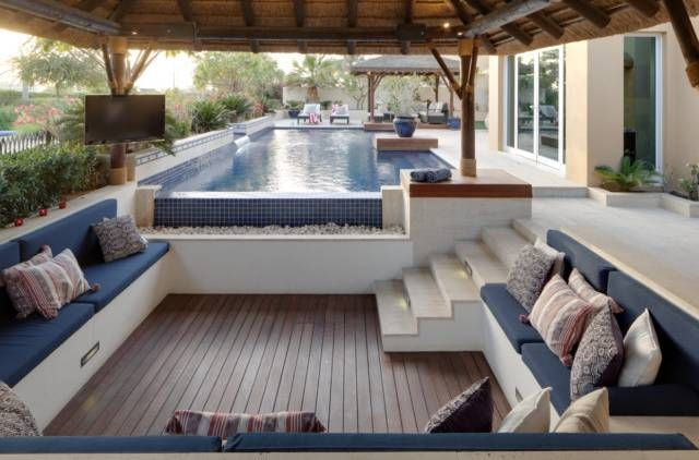 Arabian Ranches Garden Ultimate Place To Unwind Outdoor Seating Areas Modern Pools Backyard Seating