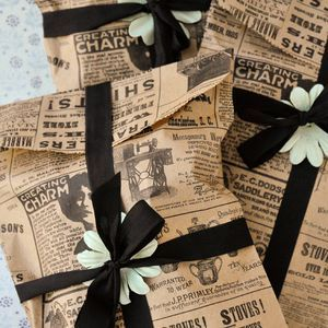 Vintage-Inspired Pinch-Bottom Bags-DIY with rubber stamps,Staz-on ink and brown lunch bags-perfect for cookies or other treats