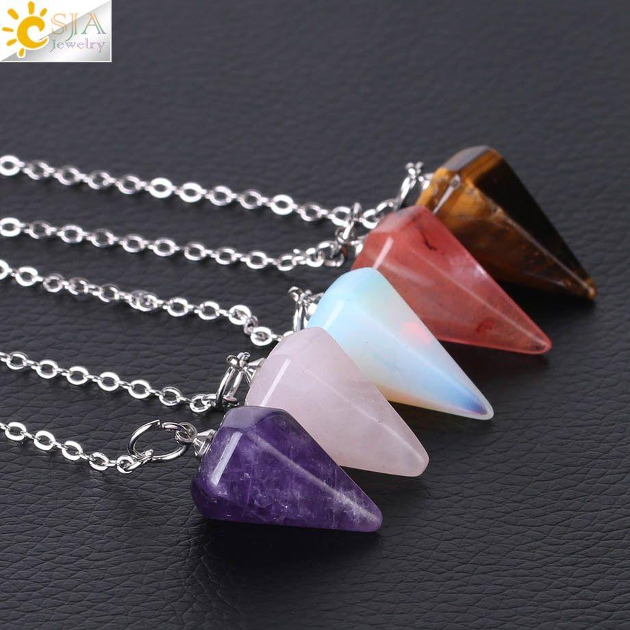 Rose Quartz Reiki Pendulum Pendant Amulet Healing Crystal Natural Stone