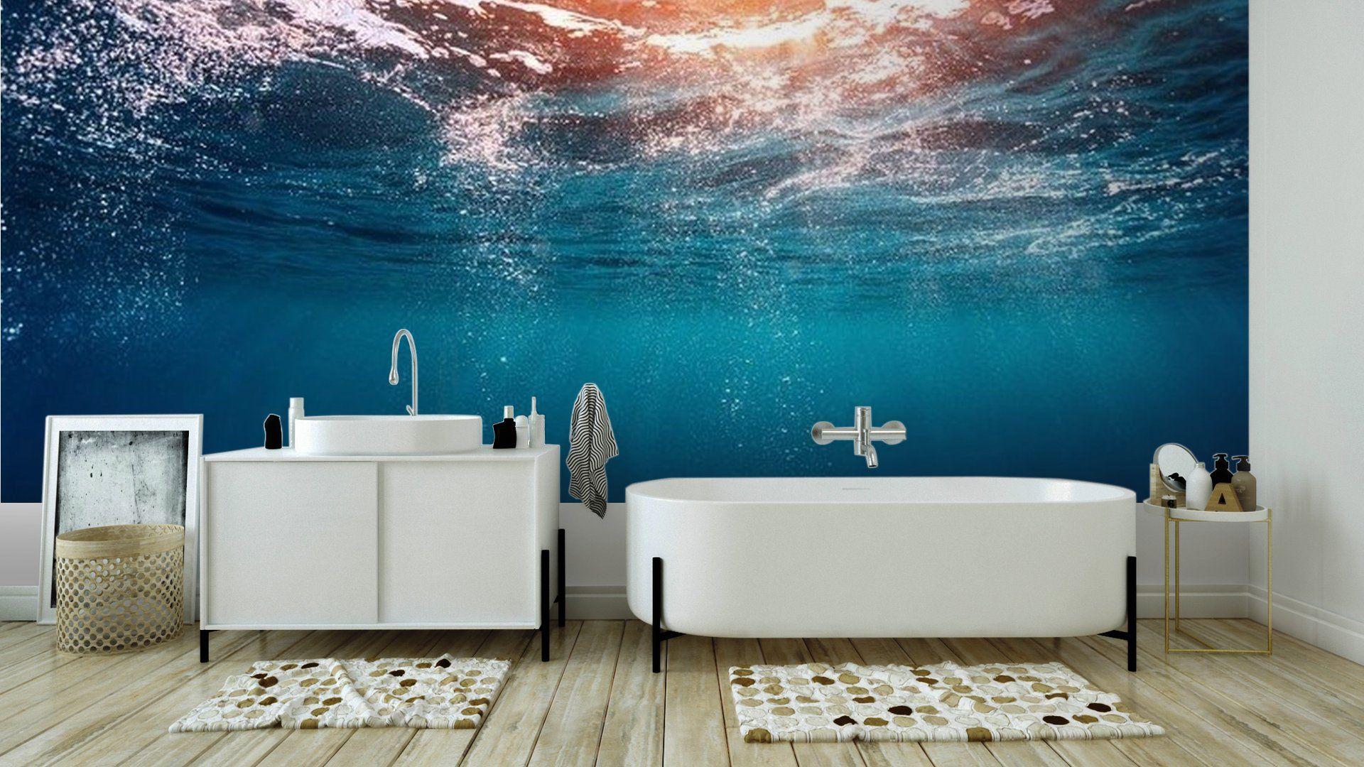 Blue Sea Wall Mural  Vinyl Easy Installation 365 Day