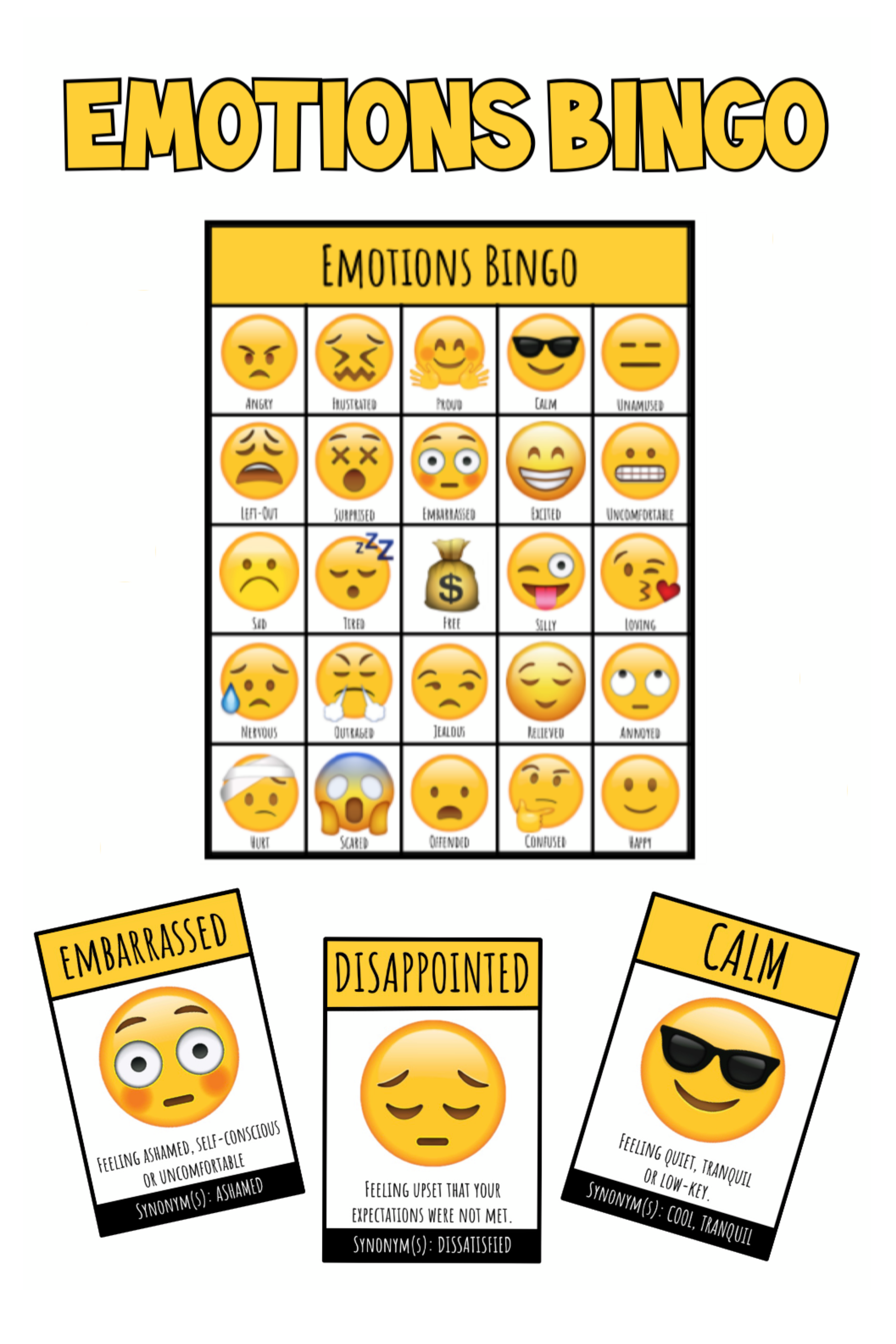 Emotions Bingo With Images
