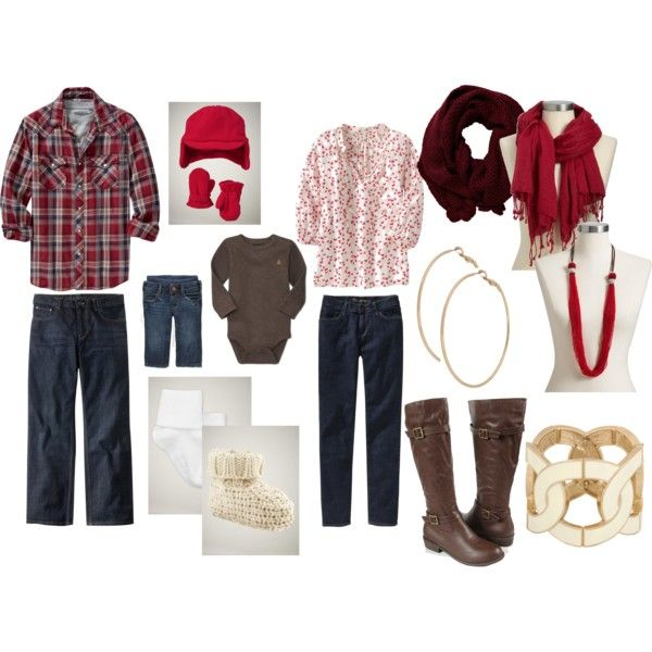 Red, cream/white, brown, denim combination with accessories.