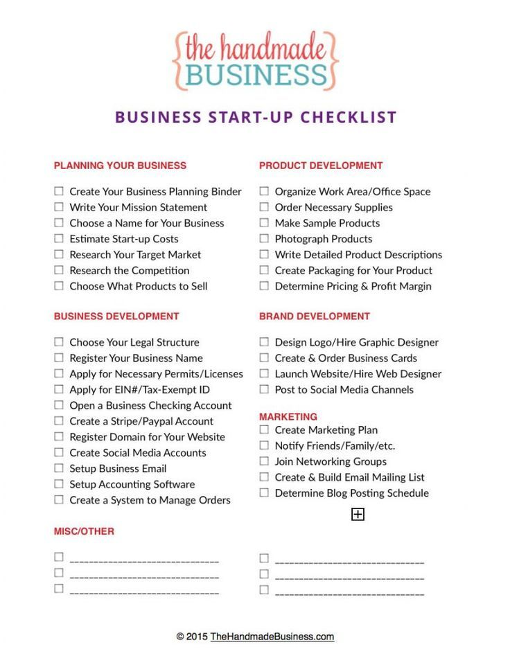 Free Business Planning Checklist Business checklist