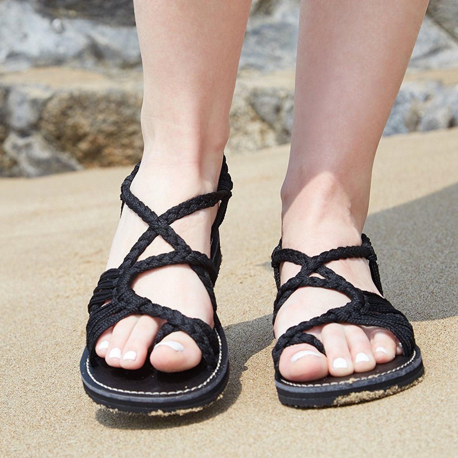57585713f0a Everelax Summer Braided Rope Flat Sandals Casual Vacation Beach Shoes For  Women Teenagers Girls     Visit the image link more details.