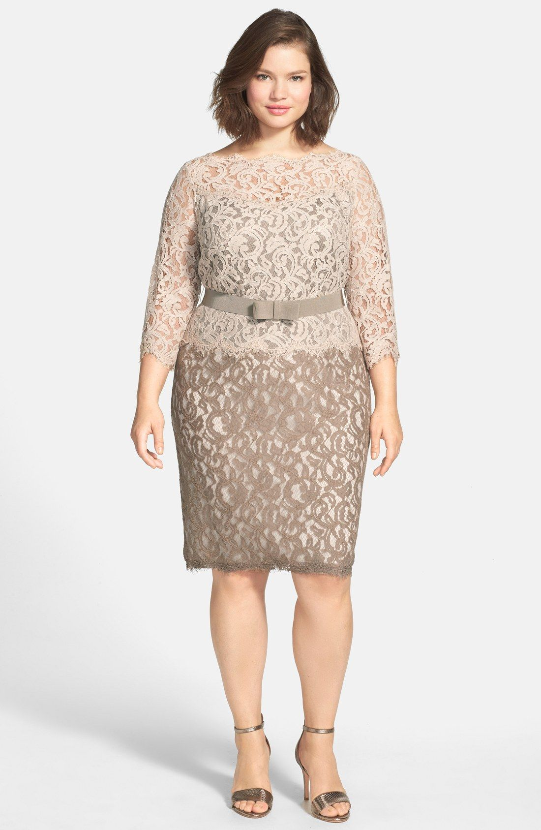 Tadashi Shoji Belted Lace Dress (Plus Size) | Dress skirt ...