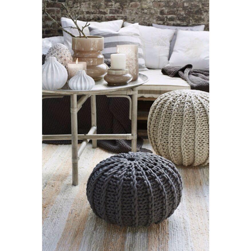 Pouf tressé beige et anthracite | House ideas | Pinterest | House