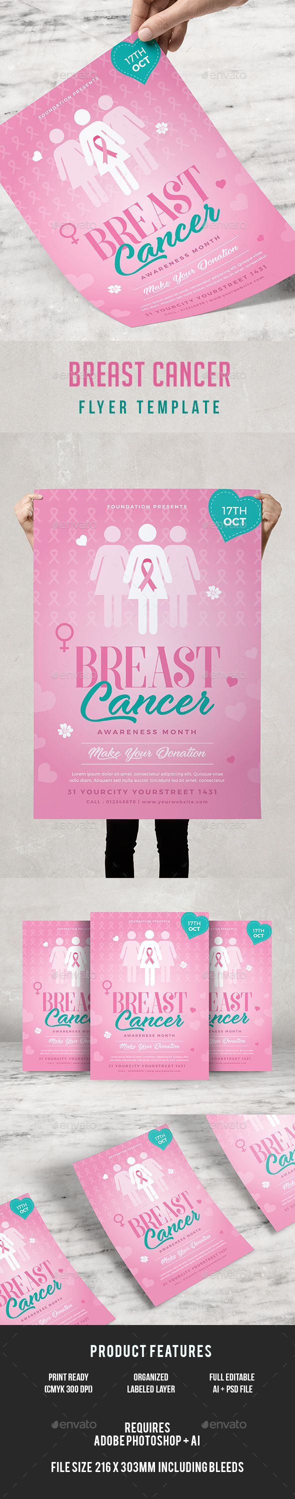 Breast Cancer Flyer Event Flyers Flyer Template And Text Fonts - Breast cancer brochure template