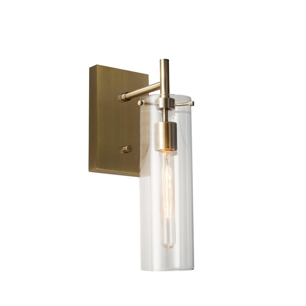 Adesso Dalton 1 Light Antique Brass Wall Sconce 3850 21 The Home Depot In 2020 Brass Wall Sconce Sconces Plug In Wall Lamp