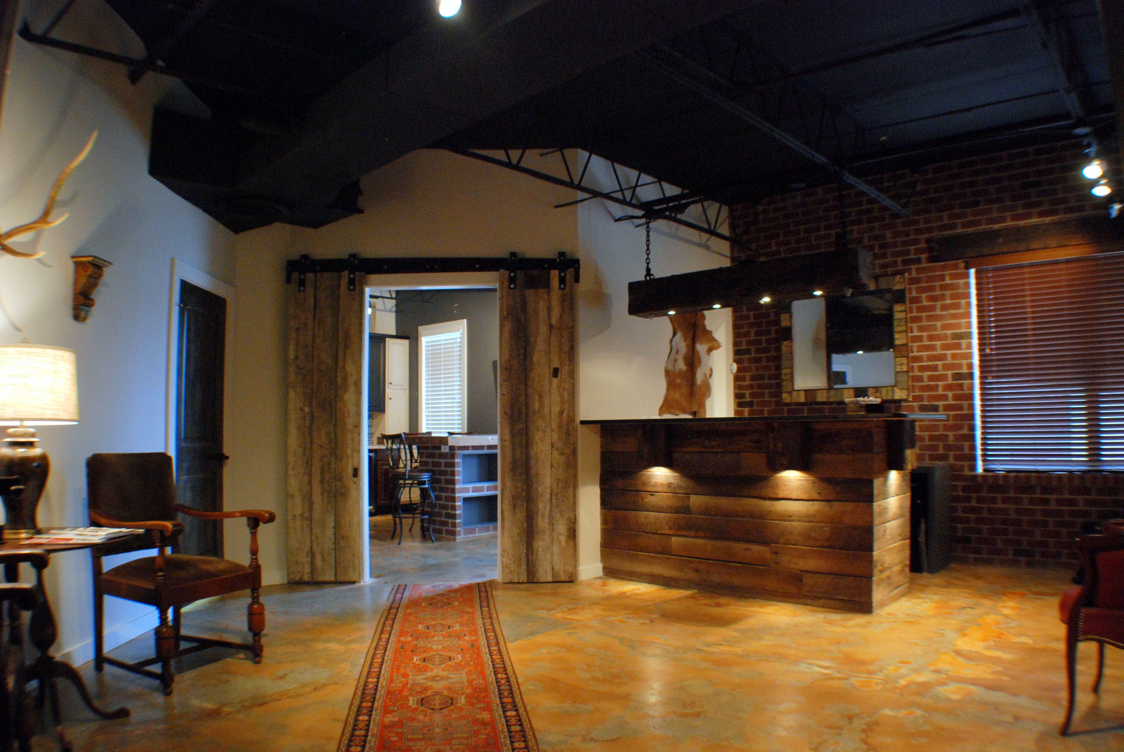 Custom barn doors reception desk made of reclaimed wood