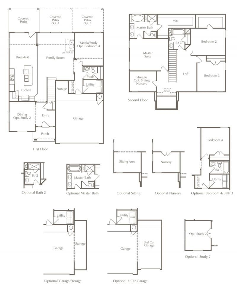 New Home Floor Plan 4 Beds Baths Square Feet With Optional Room Choices And Layouts Luxury In Cedar Park