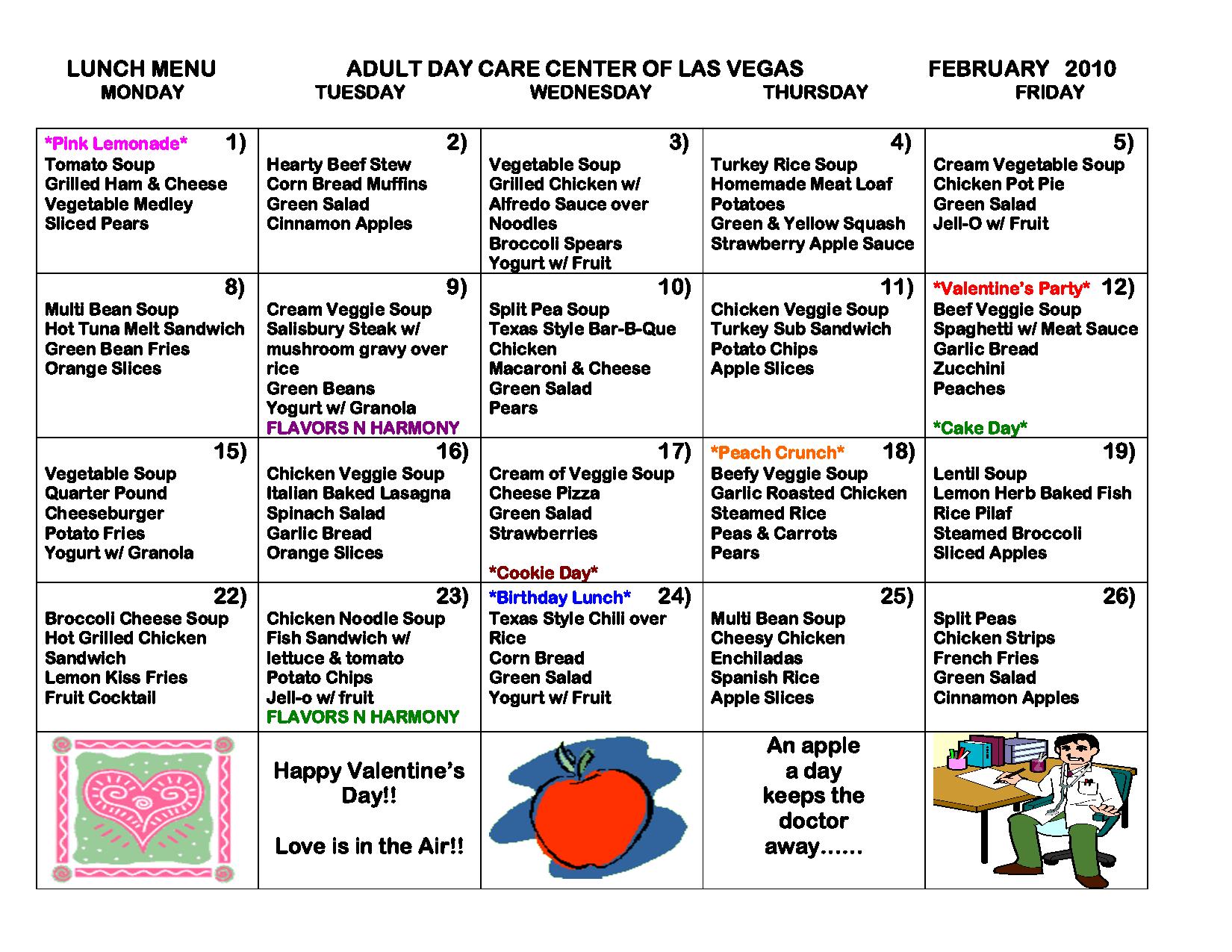 Wild image regarding free printable daycare menus