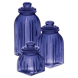 "Set of 3 navy blue fluted glass jars.  Product: Small, medium and large jar setConstruction Material: GlassColor: Navy blueFeatures: Fluted jarsDimensions: 11.02"" H x 3.93"" W x 3.93"" D (large)"