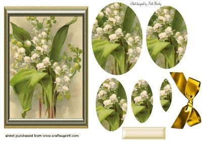 BEAUTIFUL LILY OF THE VALLEY FLOWER OVAL PYRAMIDS, Lots of other flowers and rose pyramids to see, makes a pretty card