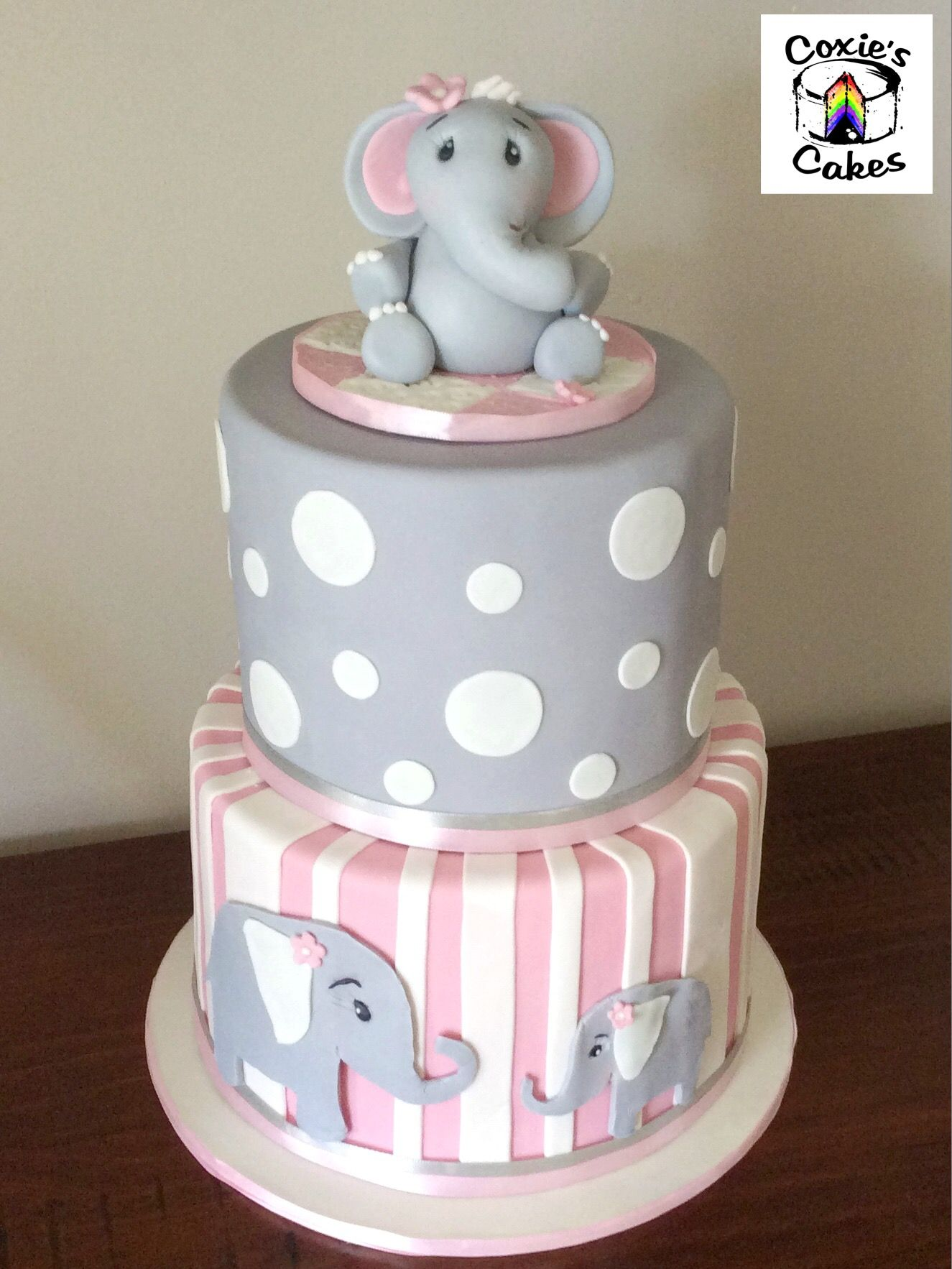 Grey Pink and White Elephant baby shower cake Elephant topper