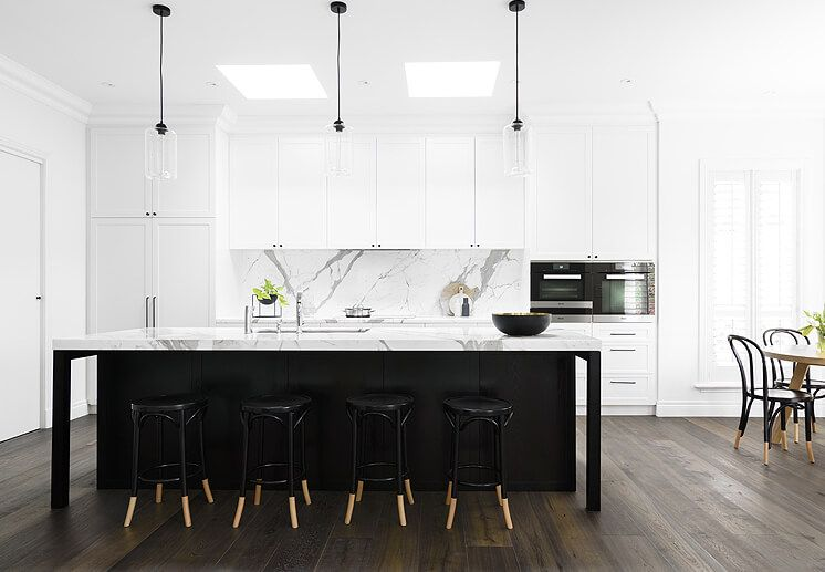 Black Island Bench Modern Kitchen Backsplash Kitchen Marble Kitchen Inspirations