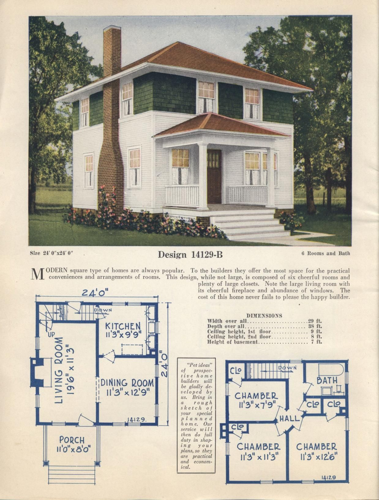 Pin By Mike Jackson Faia On Vintage House Plan Catalogs Four Square Homes Hip Roof Basement Bedrooms