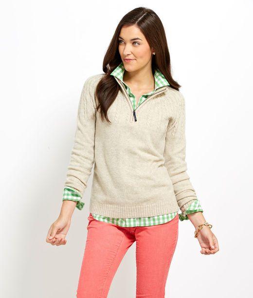 Aran 1/4-Zip Sweater #vineyardvines want