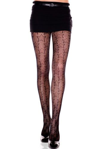 8cdb99f266e Details about Black Stretch Spandex Fishnet Pantyhose with Big Multi ...
