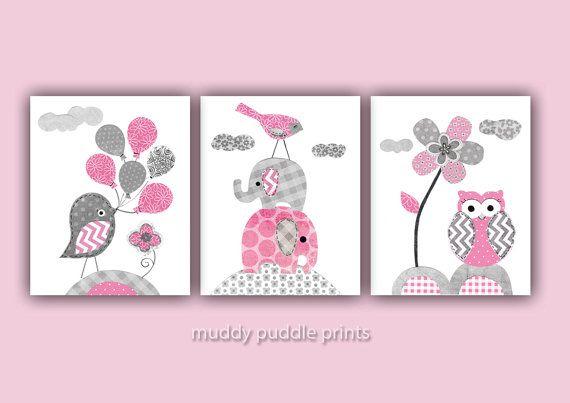 Babyzimmer Grau Rosa rosa und grau kinderzimmer dekor kinderzimmer kunst kindergarten